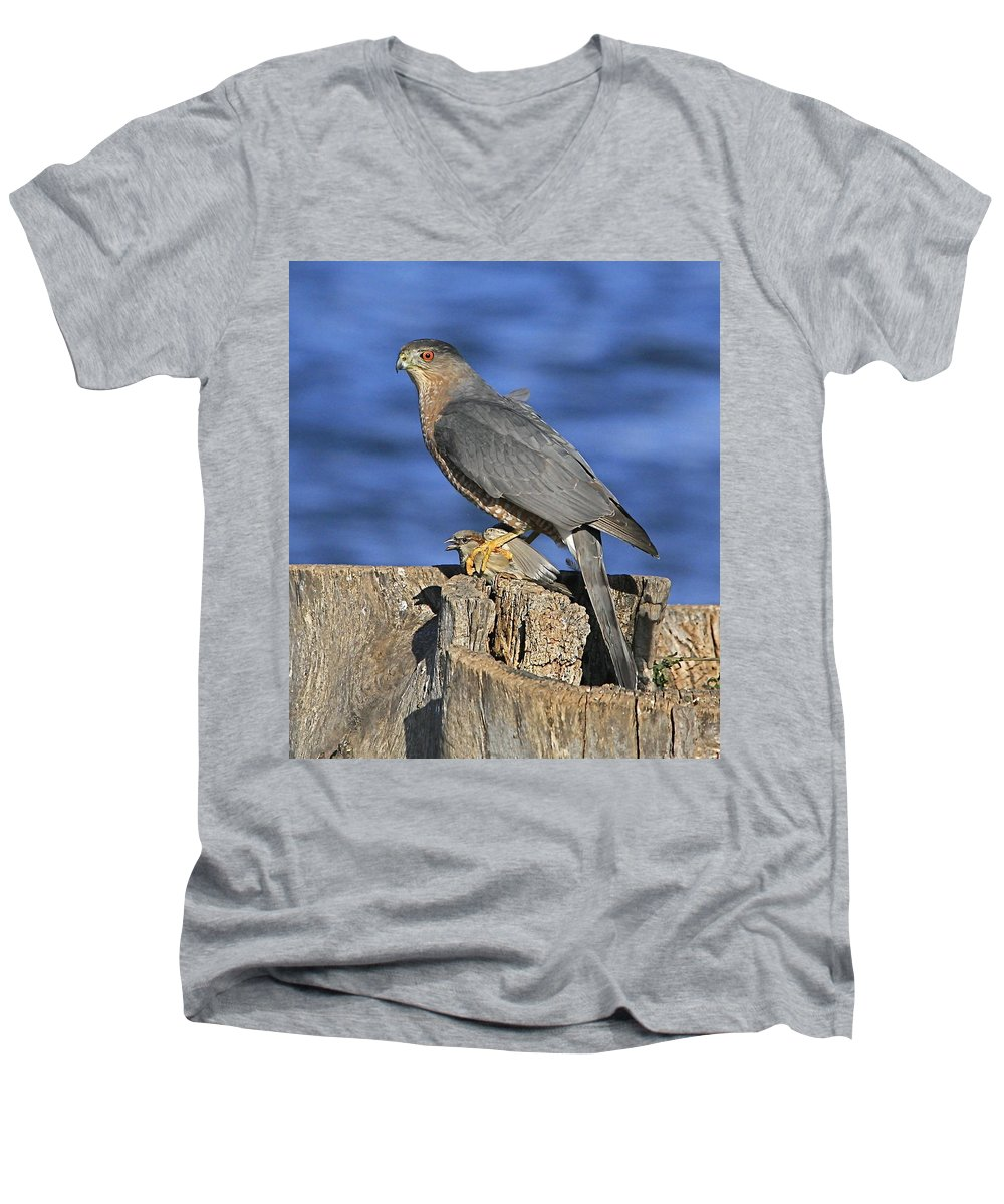 Cooper Men's V-Neck T-Shirt featuring the photograph The Catch by Robert Pearson
