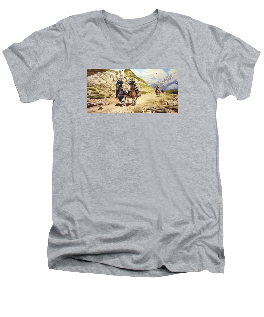 Western Men's V-Neck T-Shirt featuring the painting The Chase by Marc Stewart