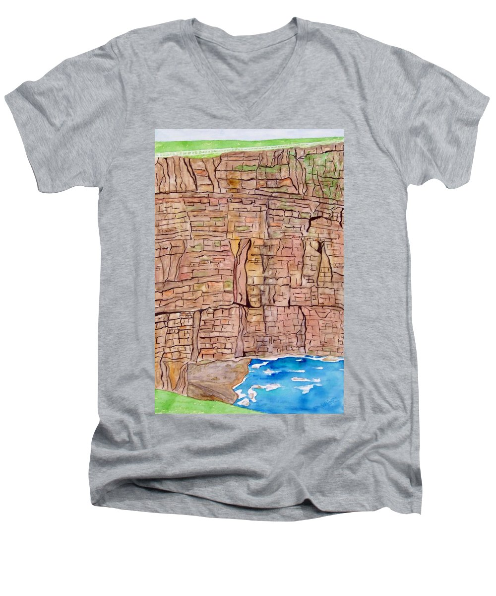 Ireland Art Men's V-Neck T-Shirt featuring the painting The Cliffs Of Mohr In Ireland by Larry Wright