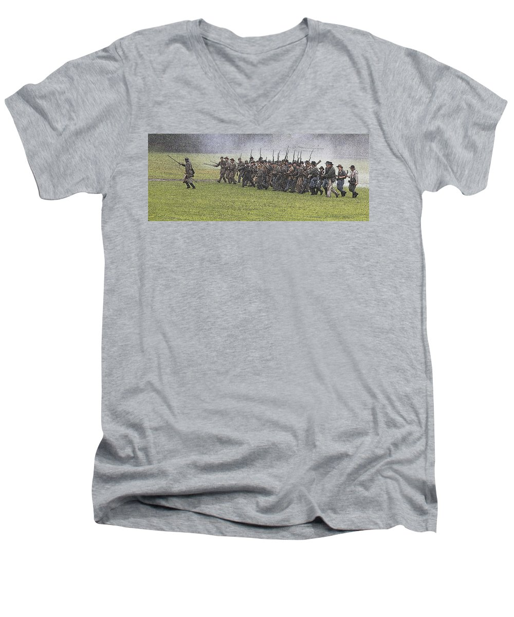Civil War Men's V-Neck T-Shirt featuring the photograph The Conflict by Robert Pearson