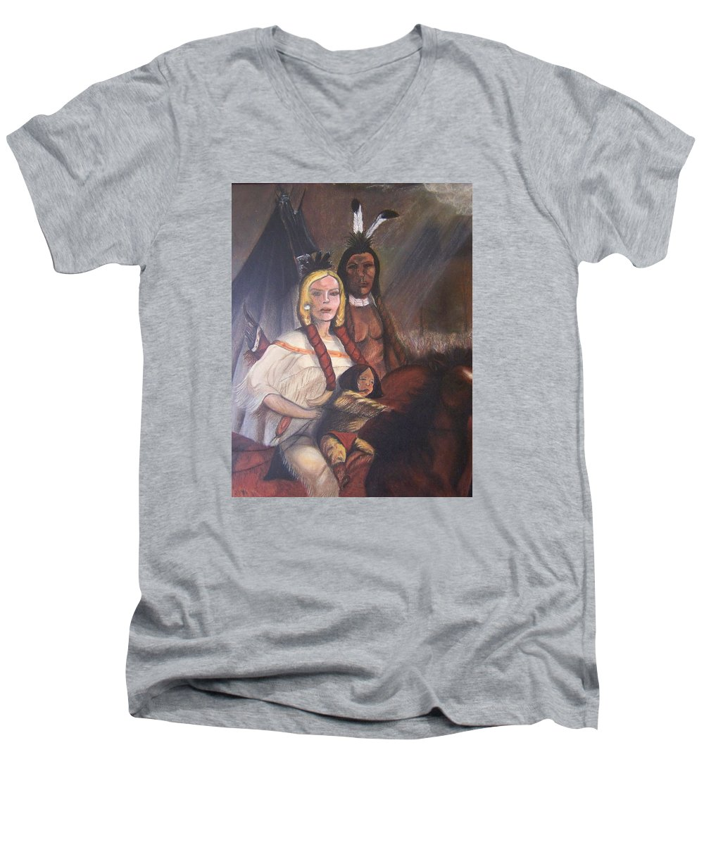 Artwork Men's V-Neck T-Shirt featuring the painting The Cynthia Ann Parker Family by Laurie Kidd