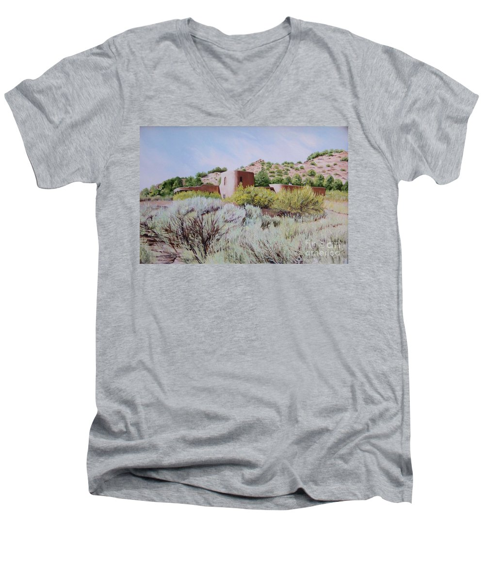 Usa Men's V-Neck T-Shirt featuring the painting The Dixon House by Mary Rogers