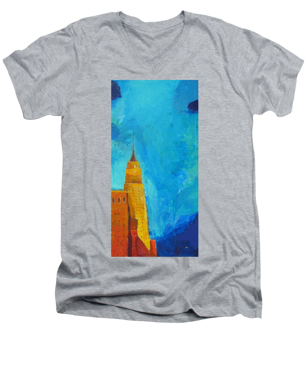 Abstract Cityscape Men's V-Neck T-Shirt featuring the painting The Empire State by Habib Ayat