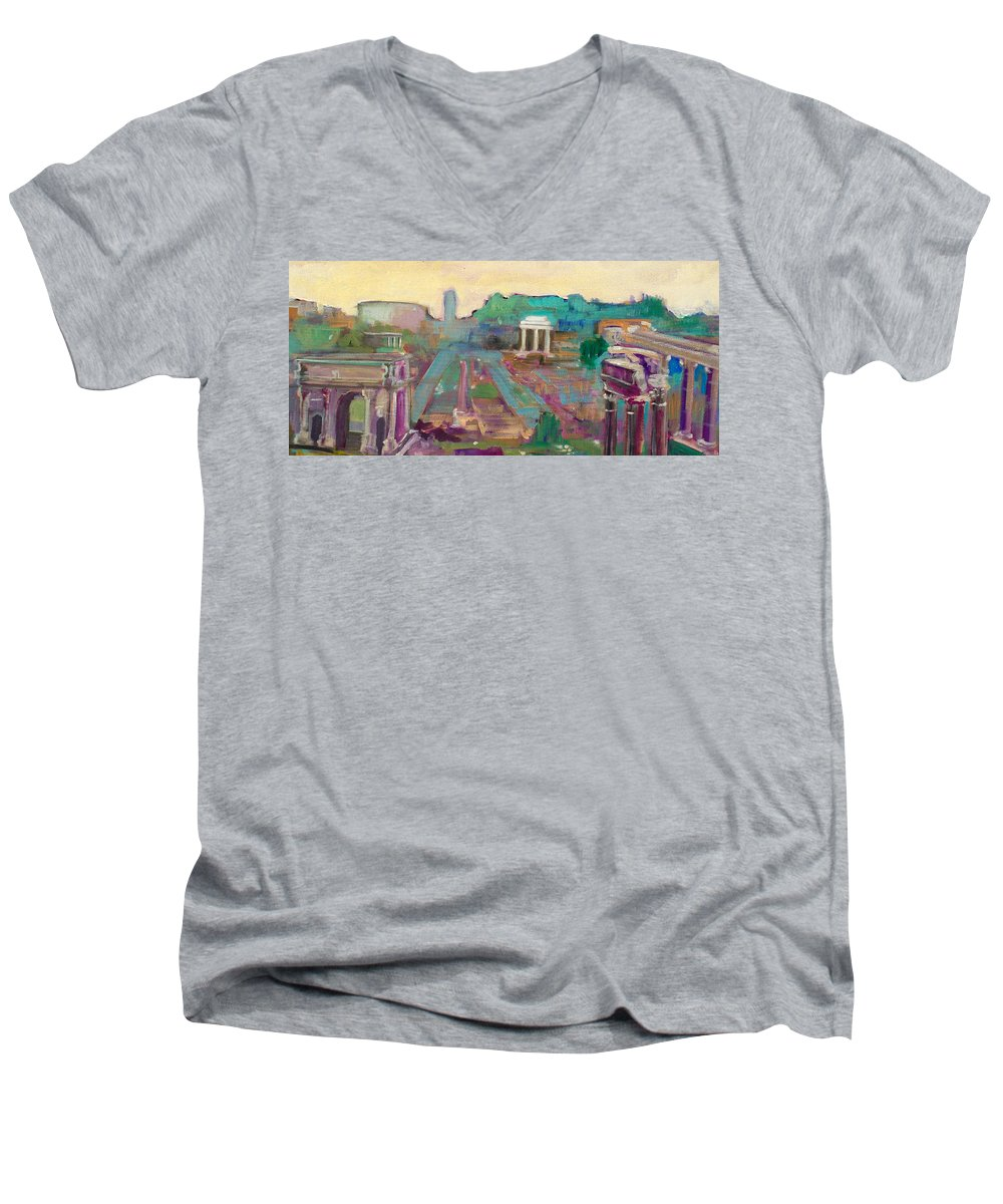 Rome Men's V-Neck T-Shirt featuring the painting The Forum Romanum by Kurt Hausmann