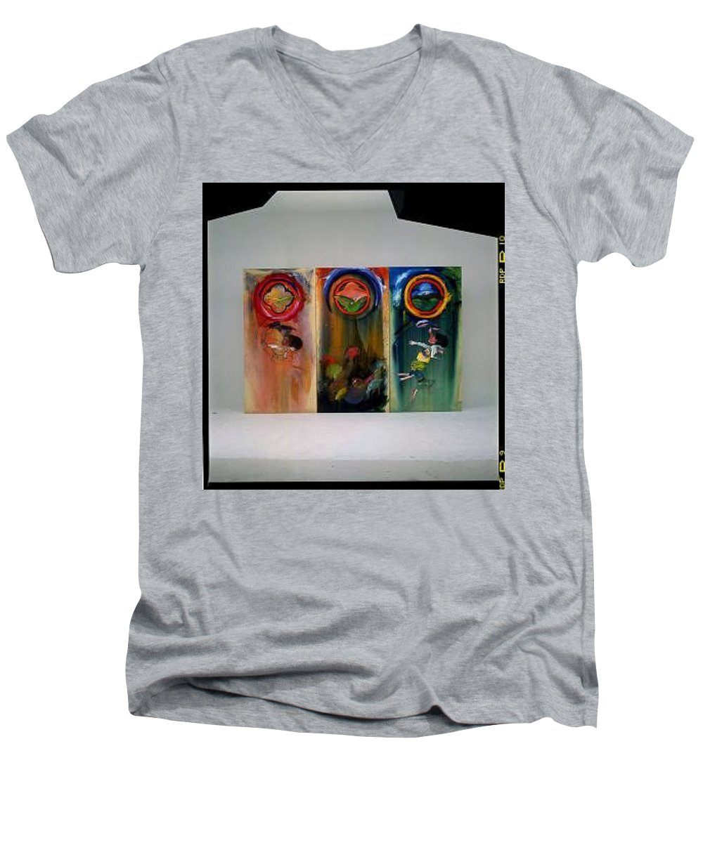 Fall From Grace Men's V-Neck T-Shirt featuring the painting The Fruit Machine Stops by Charles Stuart