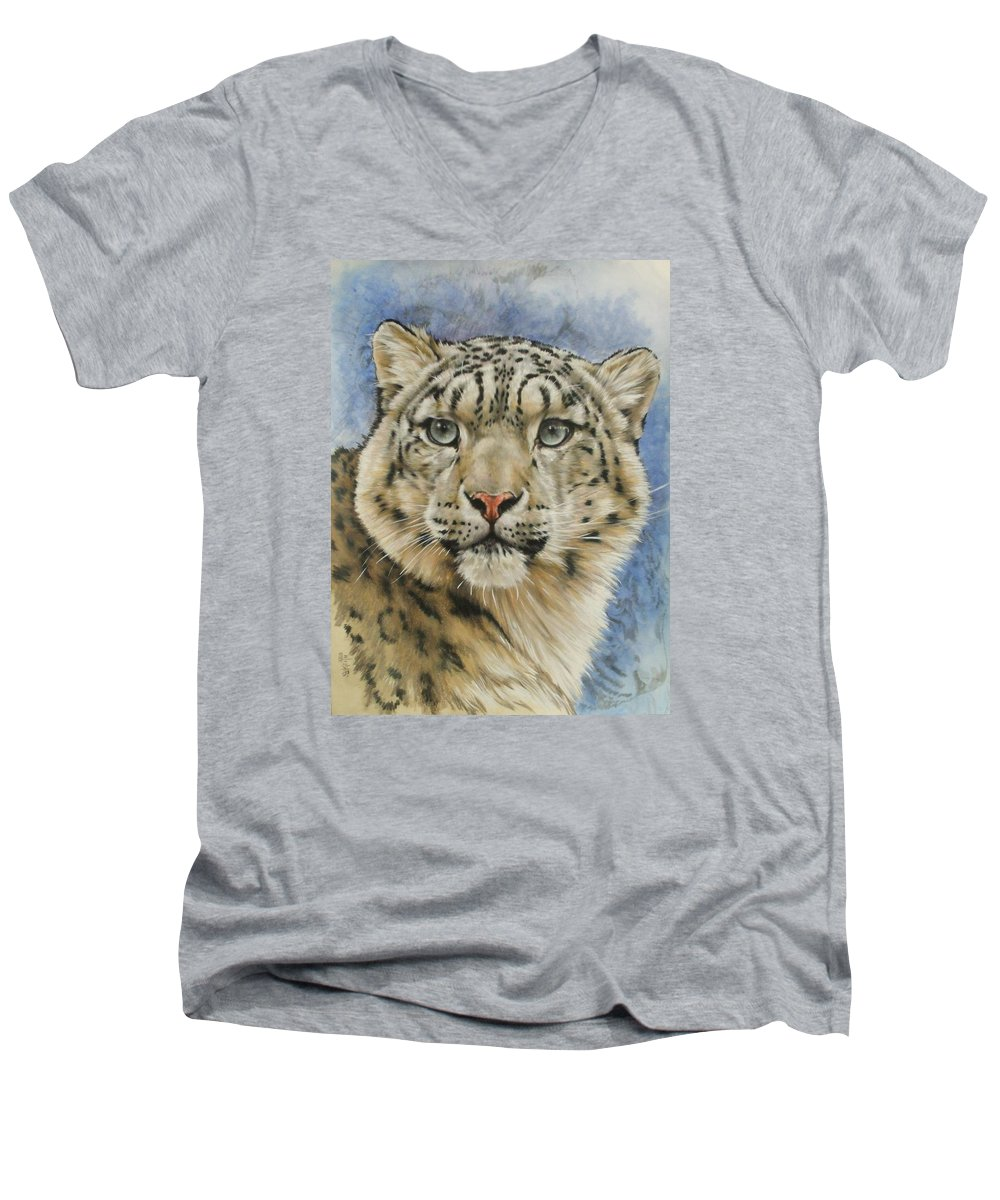 Snow Loepard Men's V-Neck T-Shirt featuring the mixed media The Gaze by Barbara Keith