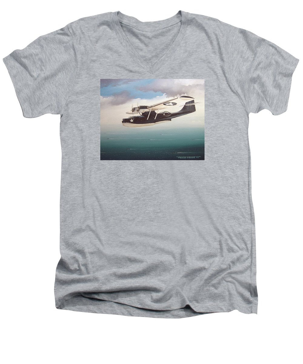 Painting Men's V-Neck T-Shirt featuring the painting The Good Shepherd by Marc Stewart