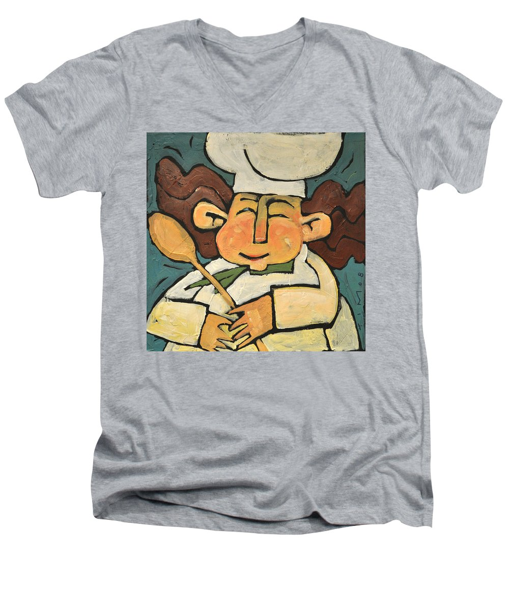 Chef Men's V-Neck T-Shirt featuring the painting The Happy Chef by Tim Nyberg