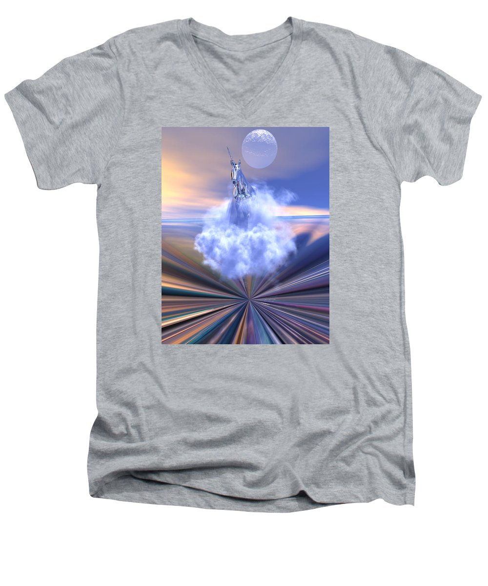 Bryce Men's V-Neck T-Shirt featuring the digital art The Last Of The Unicorns by Claude McCoy