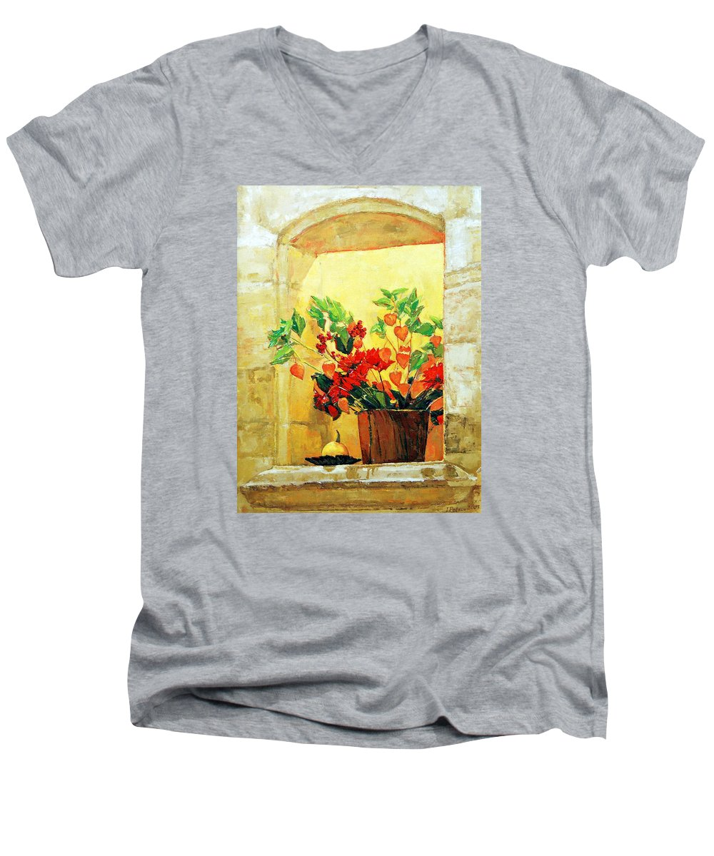 Still Life Men's V-Neck T-Shirt featuring the painting The Light by Iliyan Bozhanov