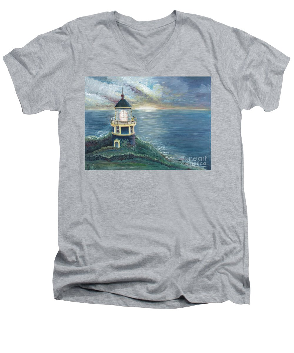 Lighthouse Men's V-Neck T-Shirt featuring the painting The Lighthouse by Nadine Rippelmeyer