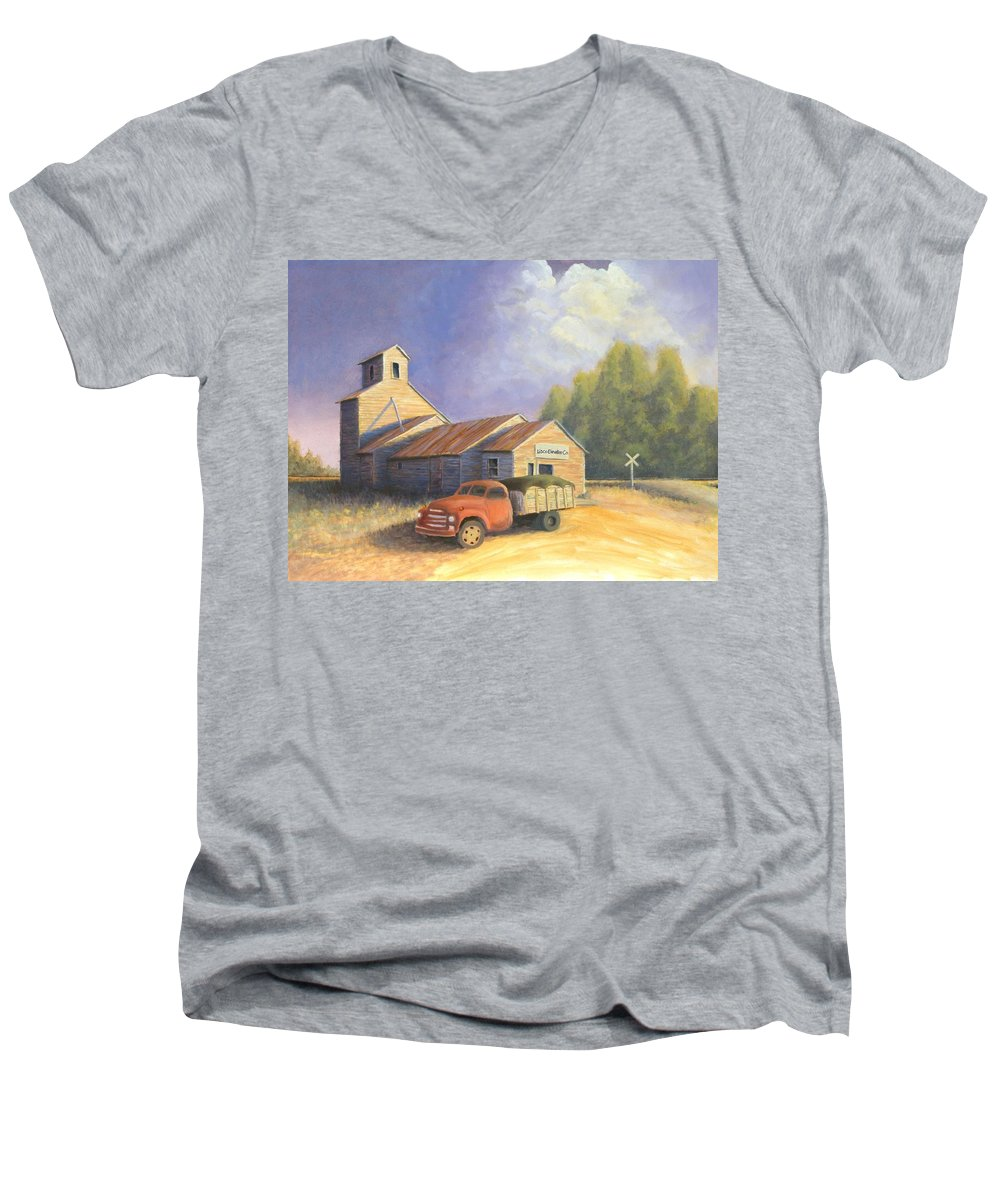 Nebraska Men's V-Neck T-Shirt featuring the painting The Lisco Elevator by Jerry McElroy