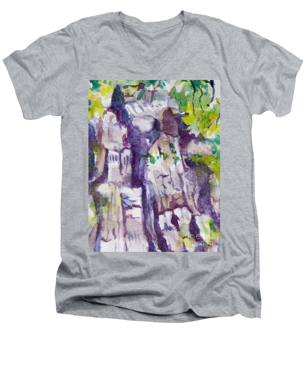 Purple Men's V-Neck T-Shirt featuring the painting The Little Climbing Wall by Jan Bennicoff