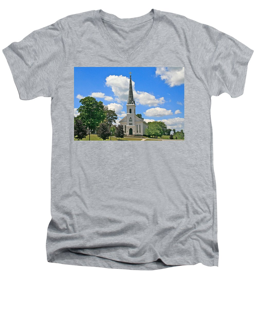 Usa Men's V-Neck T-Shirt featuring the photograph The Little Country Church by Robert Pearson