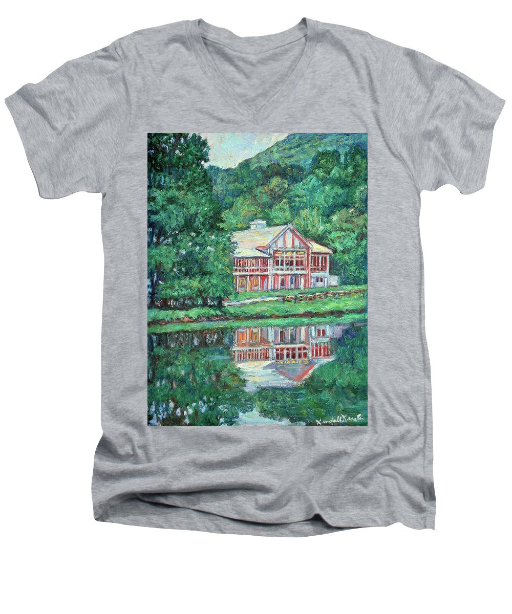 Lodge Paintings Men's V-Neck T-Shirt featuring the painting The Lodge At Peaks Of Otter by Kendall Kessler