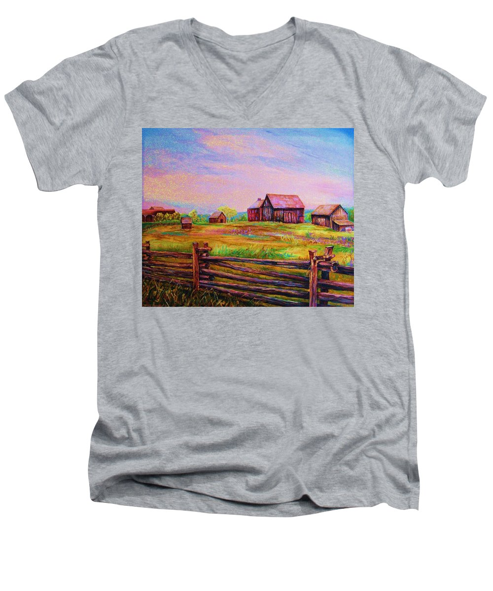 Ranches Men's V-Neck T-Shirt featuring the painting The Log Fence by Carole Spandau