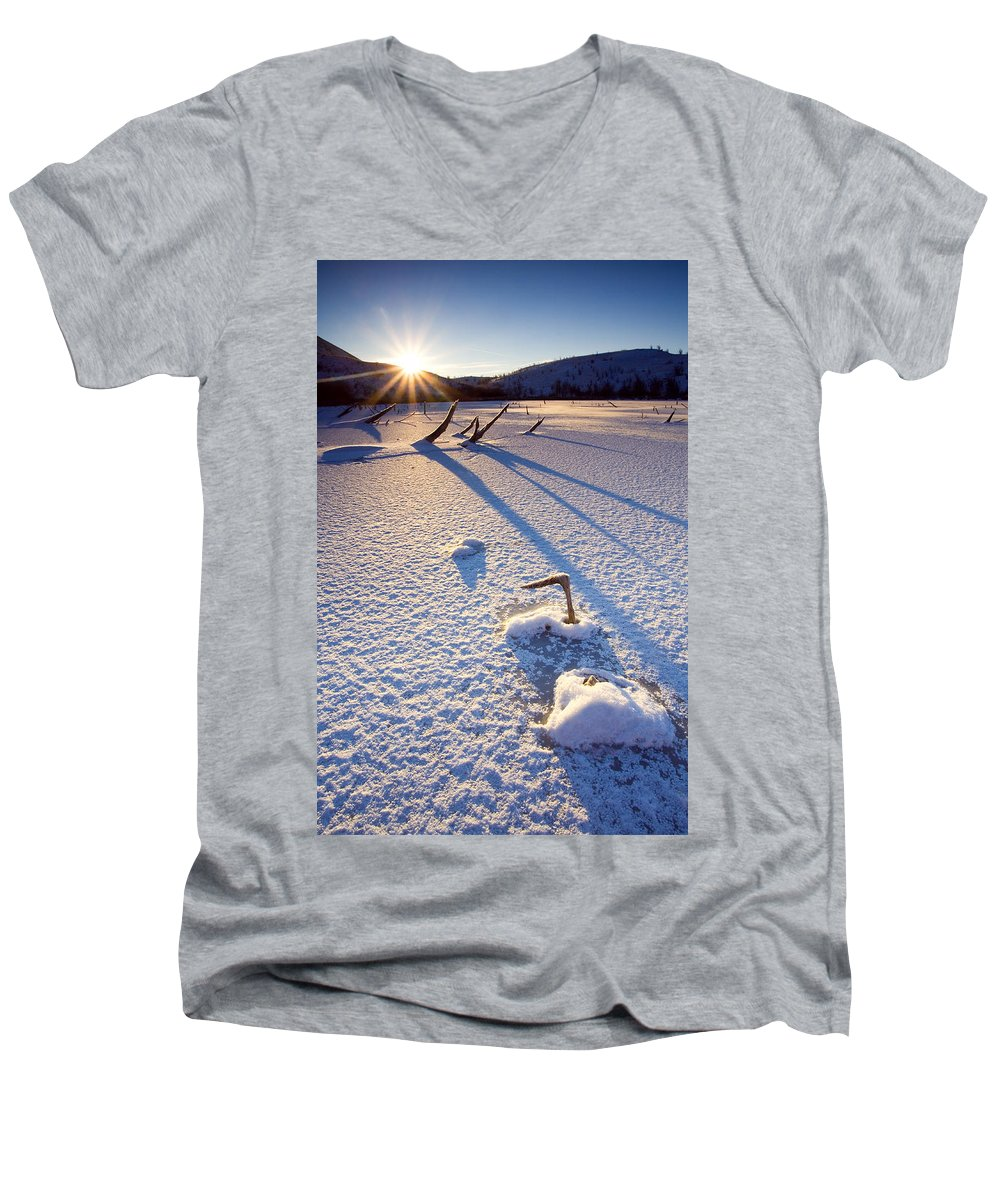 Sunrise Men's V-Neck T-Shirt featuring the photograph The Long Shadows Of Winter by Mike Dawson