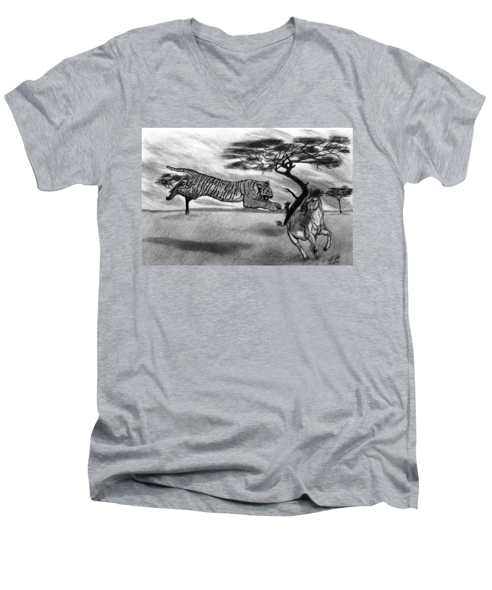 The Lunge Men's V-Neck T-Shirt featuring the drawing The Lunge by Peter Piatt