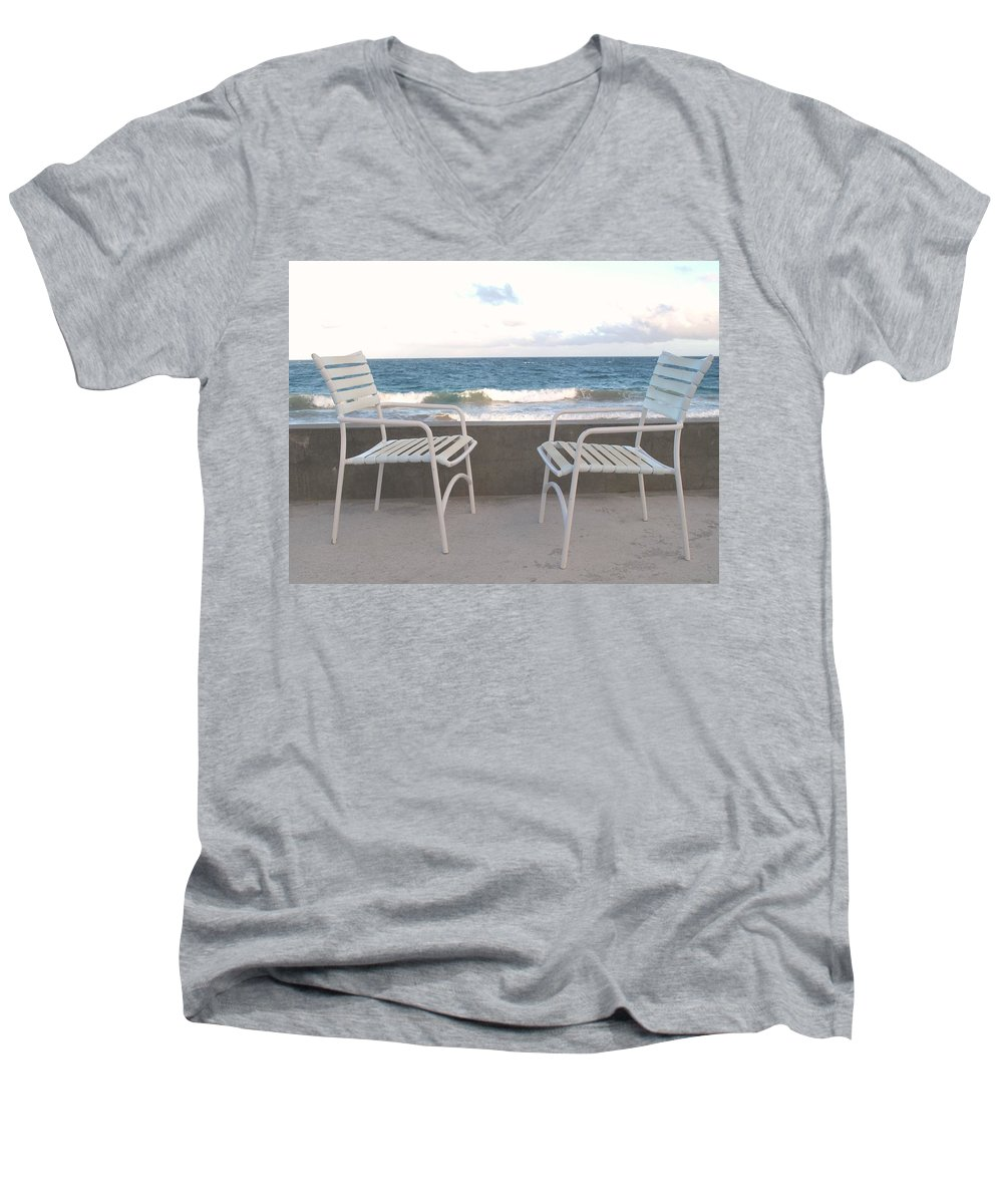 Seascape Men's V-Neck T-Shirt featuring the photograph The Meeting by Ian MacDonald
