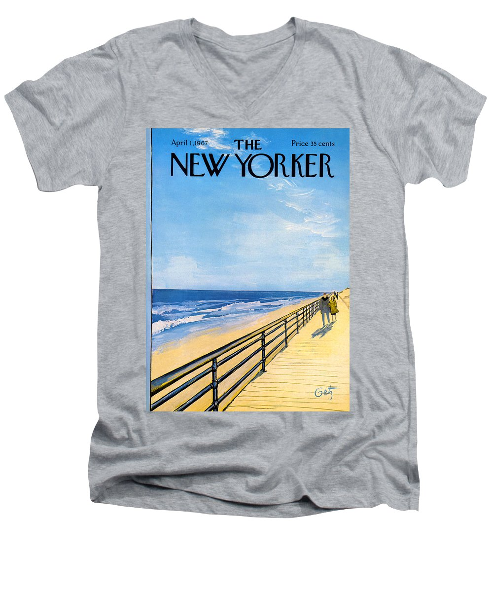 Arthur Men's V-Neck T-Shirt featuring the painting The New Yorker Cover - April 1st, 1967 by Arthur Getz
