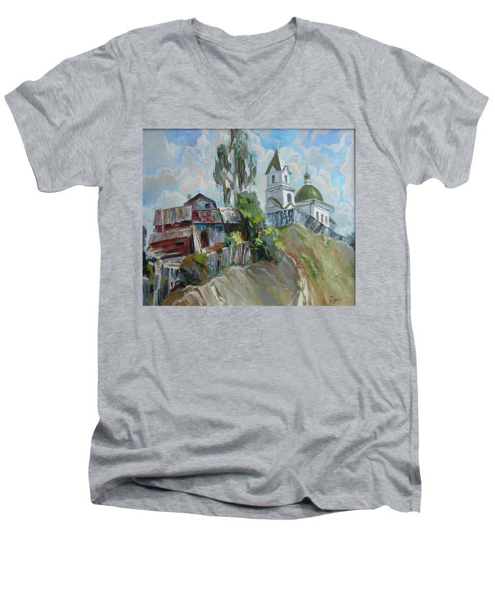 Oil Men's V-Neck T-Shirt featuring the painting The Old And New by Sergey Ignatenko