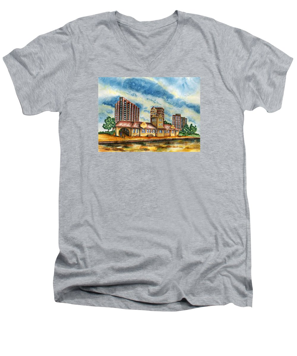Cityscape Men's V-Neck T-Shirt featuring the painting The Old Train Station  by Ragon Steele