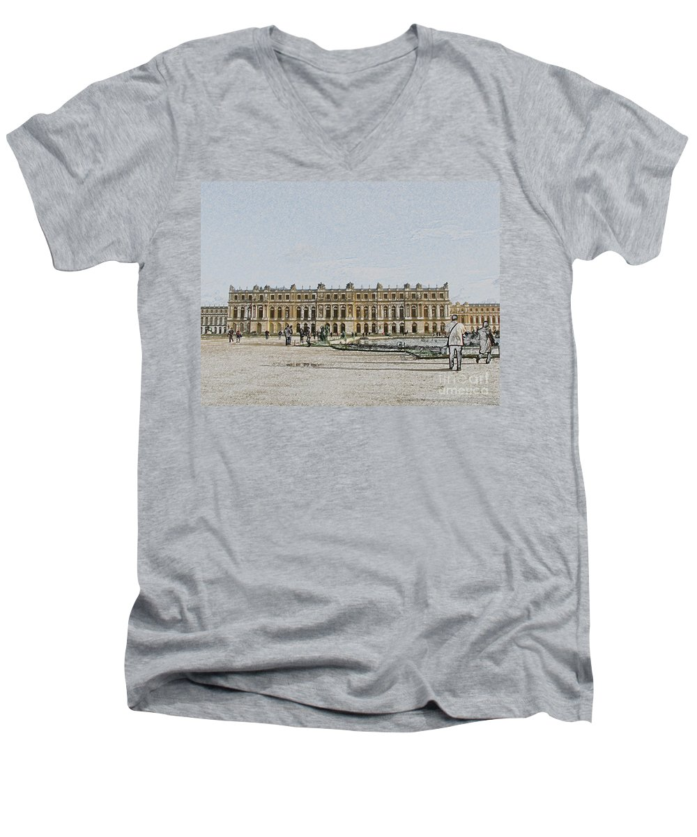 Palace Men's V-Neck T-Shirt featuring the photograph The Palace Of Versailles by Amanda Barcon