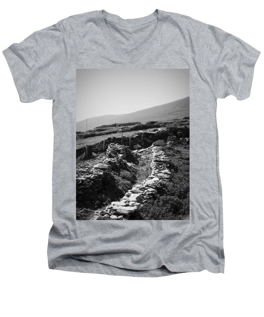Irish Men's V-Neck T-Shirt featuring the photograph The Path To The Beehive Huts In Fahan Ireland by Teresa Mucha