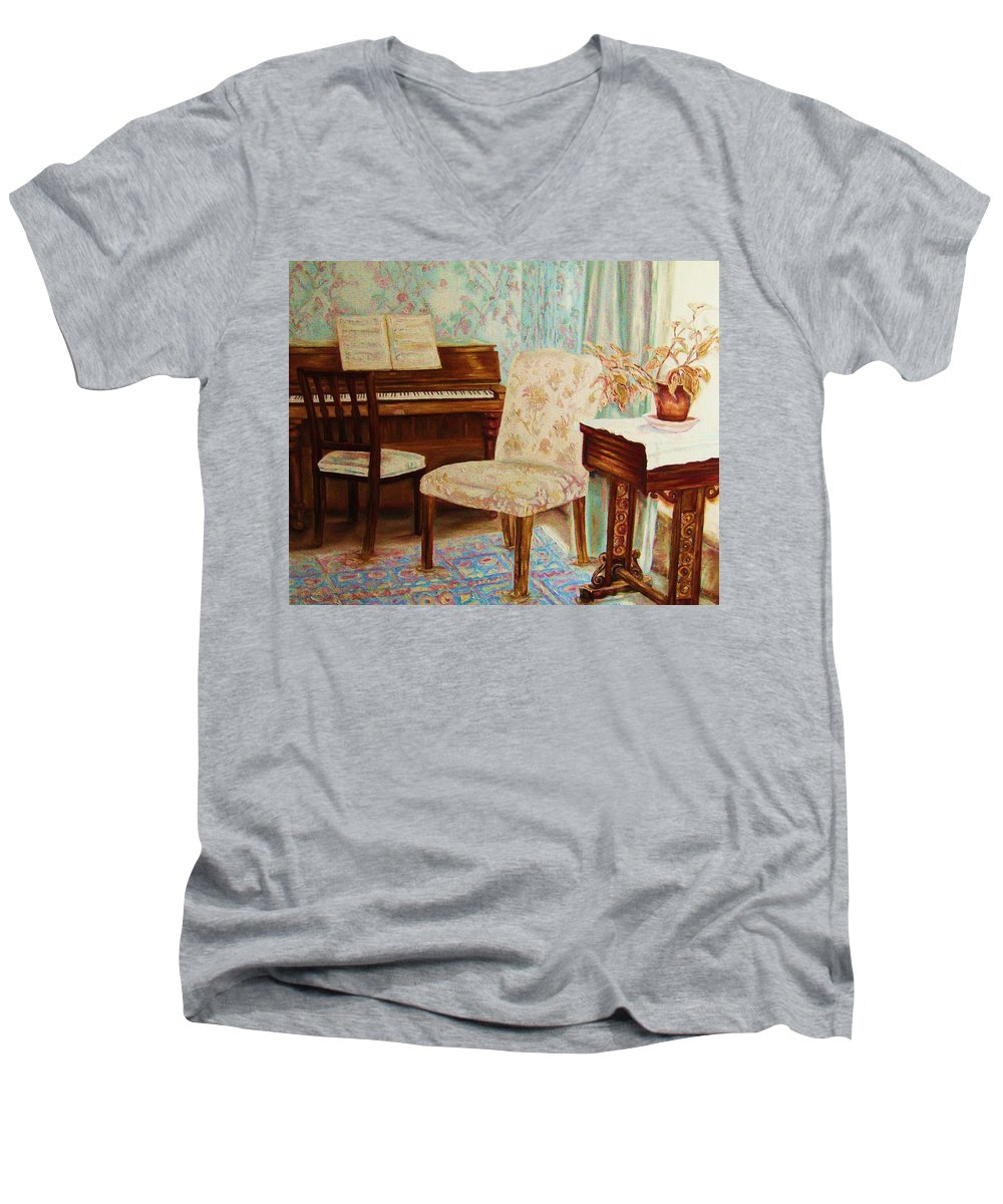 Iimpressionism Men's V-Neck T-Shirt featuring the painting The Piano Room by Carole Spandau