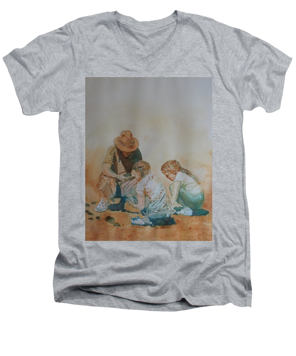 Fathers Men's V-Neck T-Shirt featuring the painting The Pumice Seekers by Jenny Armitage