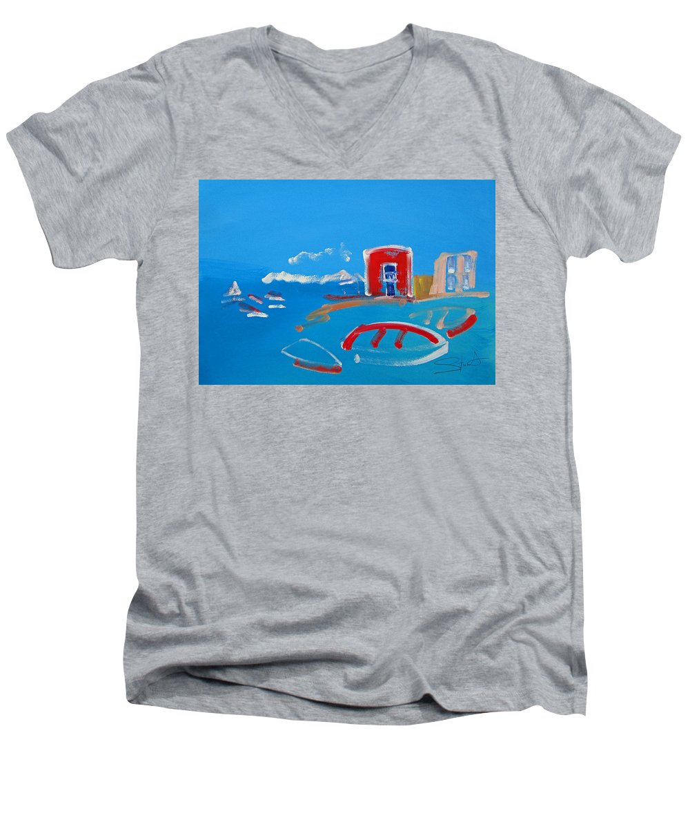 Puerto Men's V-Neck T-Shirt featuring the painting The Red House La Casa Roja by Charles Stuart