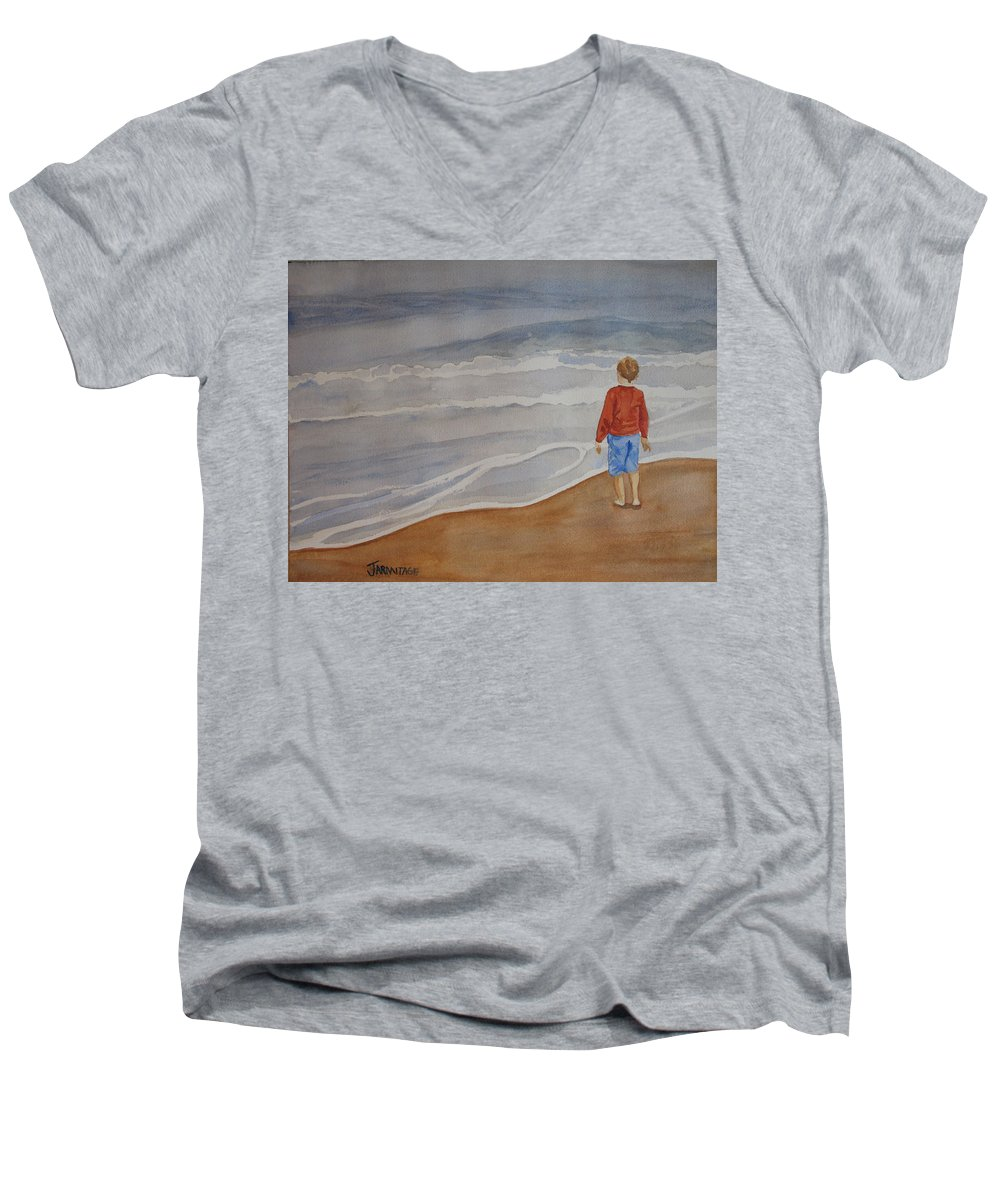 Boy Men's V-Neck T-Shirt featuring the painting The Red Shirt by Jenny Armitage