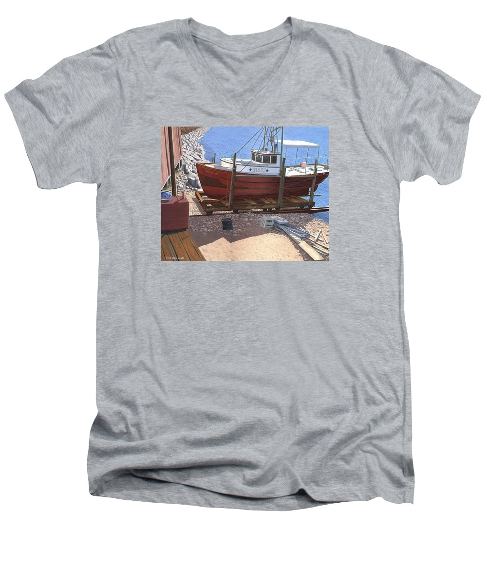 Fishing Boat Men's V-Neck T-Shirt featuring the painting The Red Troller by Gary Giacomelli