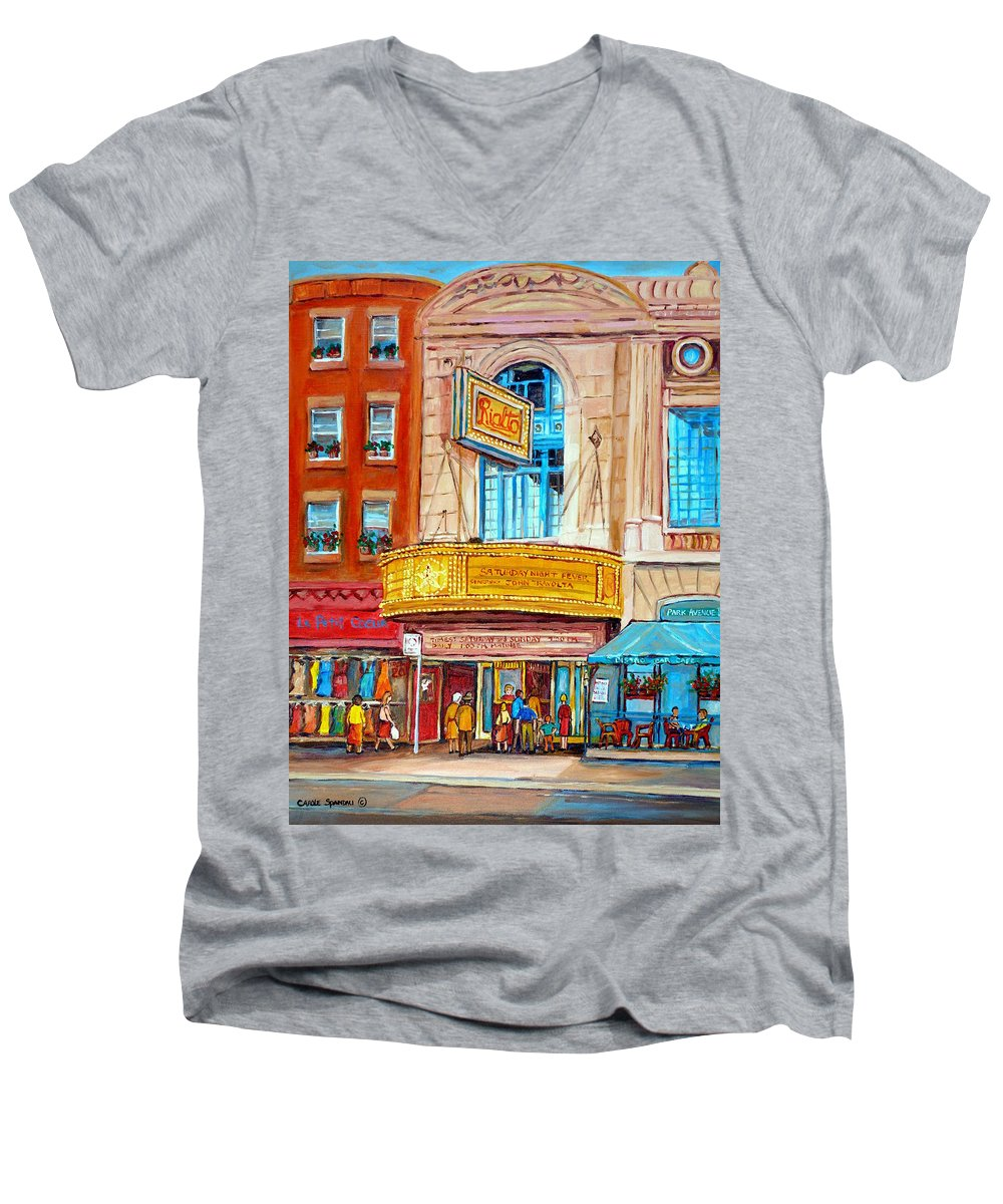 Montreal Men's V-Neck T-Shirt featuring the painting The Rialto Theatre Montreal by Carole Spandau