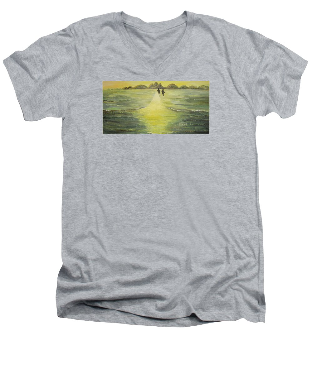 Soul Men's V-Neck T-Shirt featuring the painting The Road In The Ocean Of Light by Karina Ishkhanova