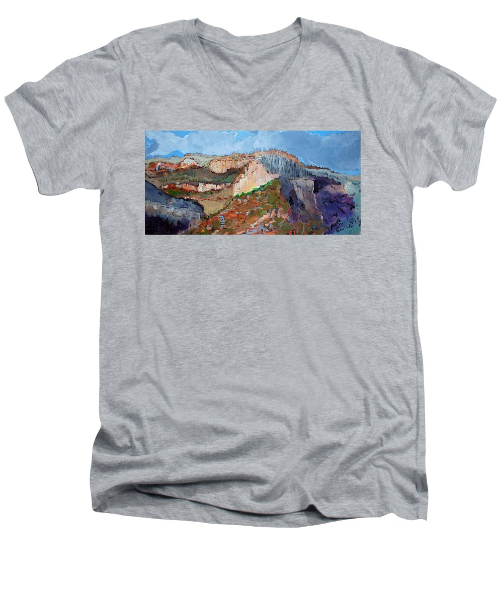 Mountains Men's V-Neck T-Shirt featuring the painting The Rockies by Kurt Hausmann