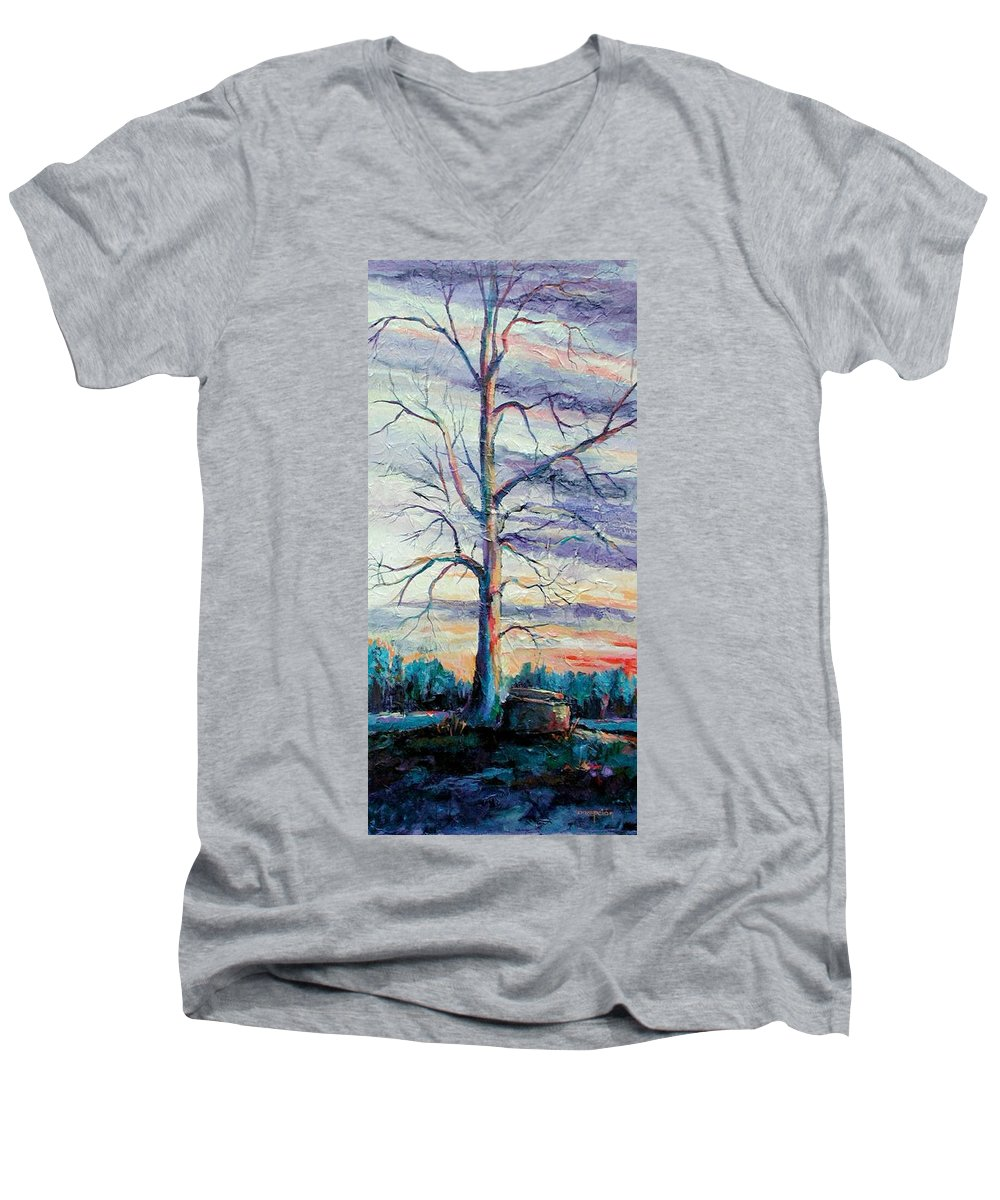 Lone Tree Men's V-Neck T-Shirt featuring the painting The Sentinel by Ginger Concepcion