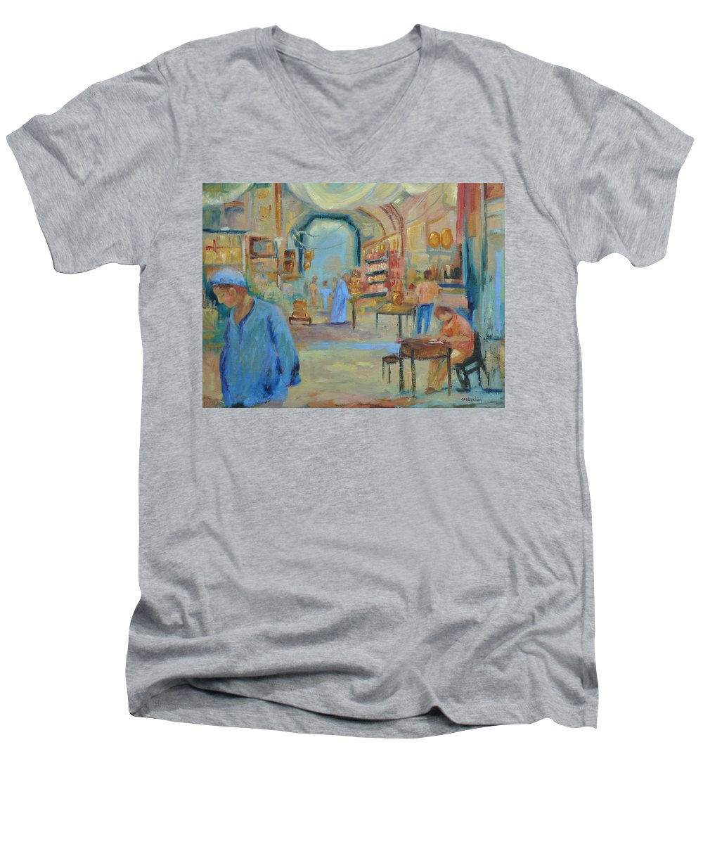 Figurative Men's V-Neck T-Shirt featuring the painting The Souk by Ginger Concepcion