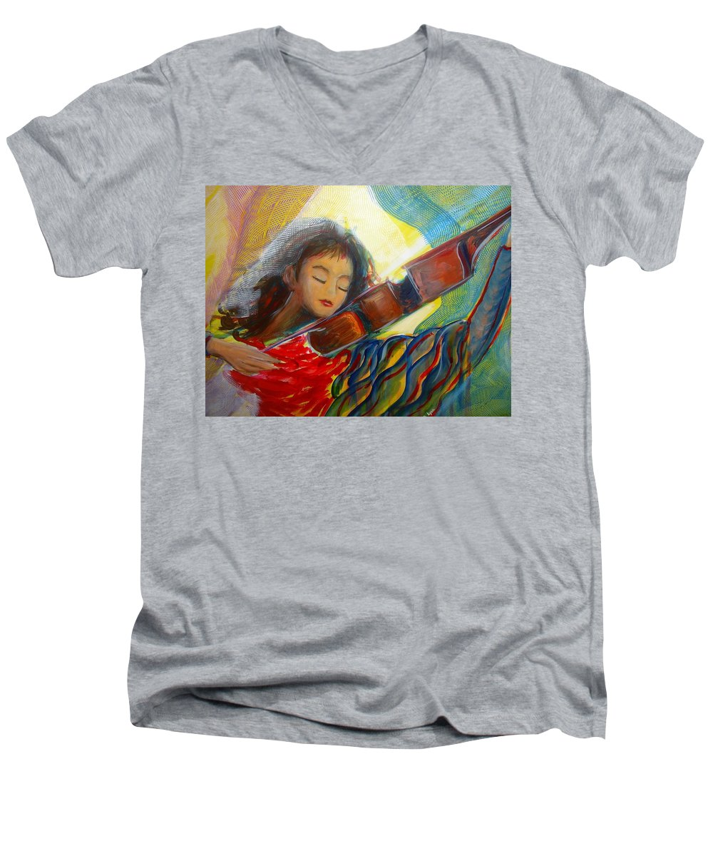 Violin Men's V-Neck T-Shirt featuring the painting The Sweetest Sounds by Regina Walsh