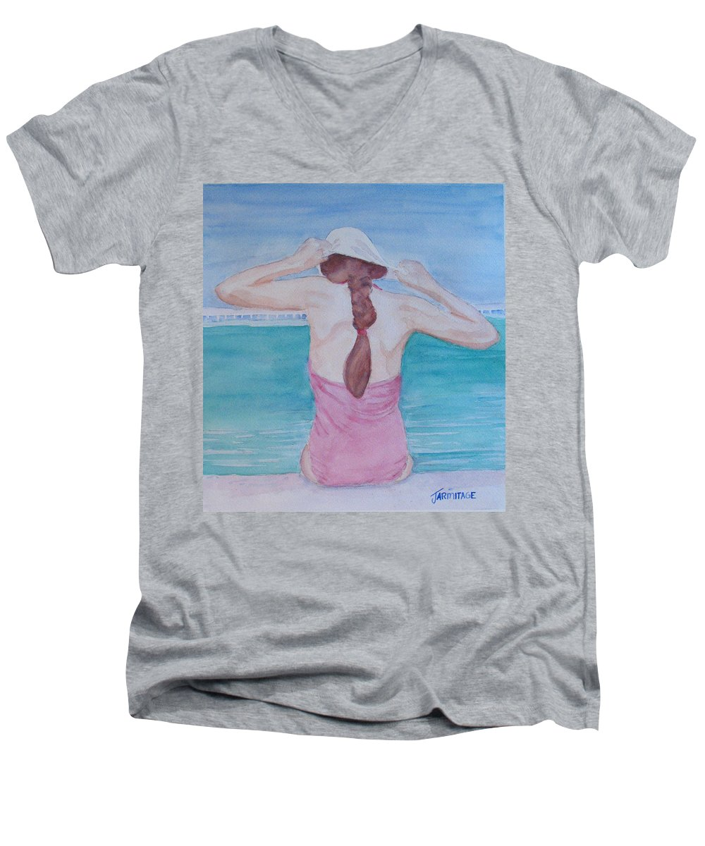 Girl Men's V-Neck T-Shirt featuring the painting The Swim Cap by Jenny Armitage