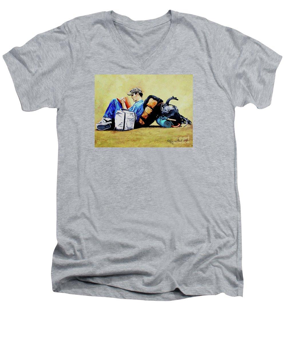 Travel Men's V-Neck T-Shirt featuring the painting The Traveler 2 - El Viajero 2 by Rezzan Erguvan-Onal