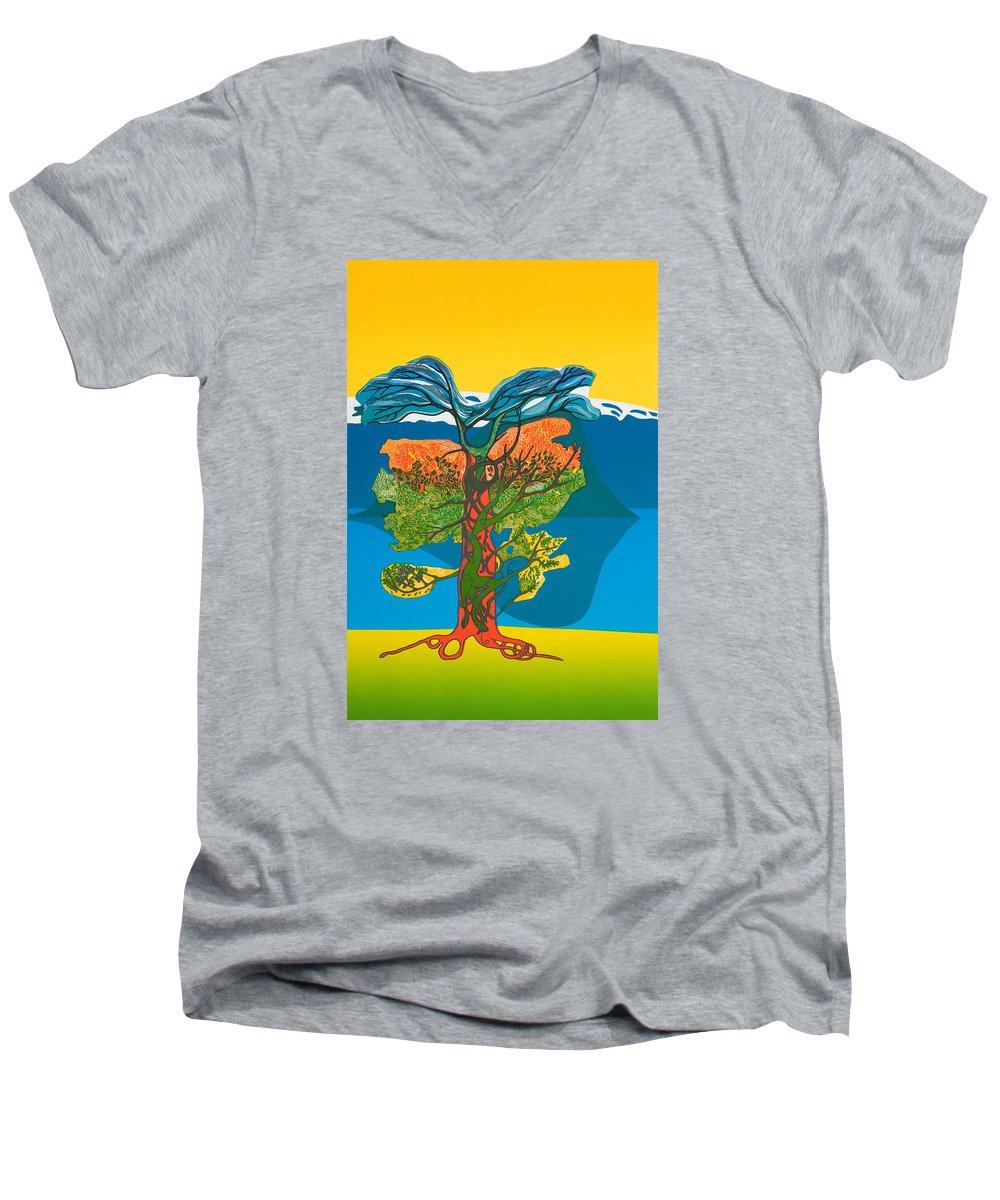 Landscape Men's V-Neck T-Shirt featuring the mixed media The Tree Of Life. From The Viking Saga. by Jarle Rosseland