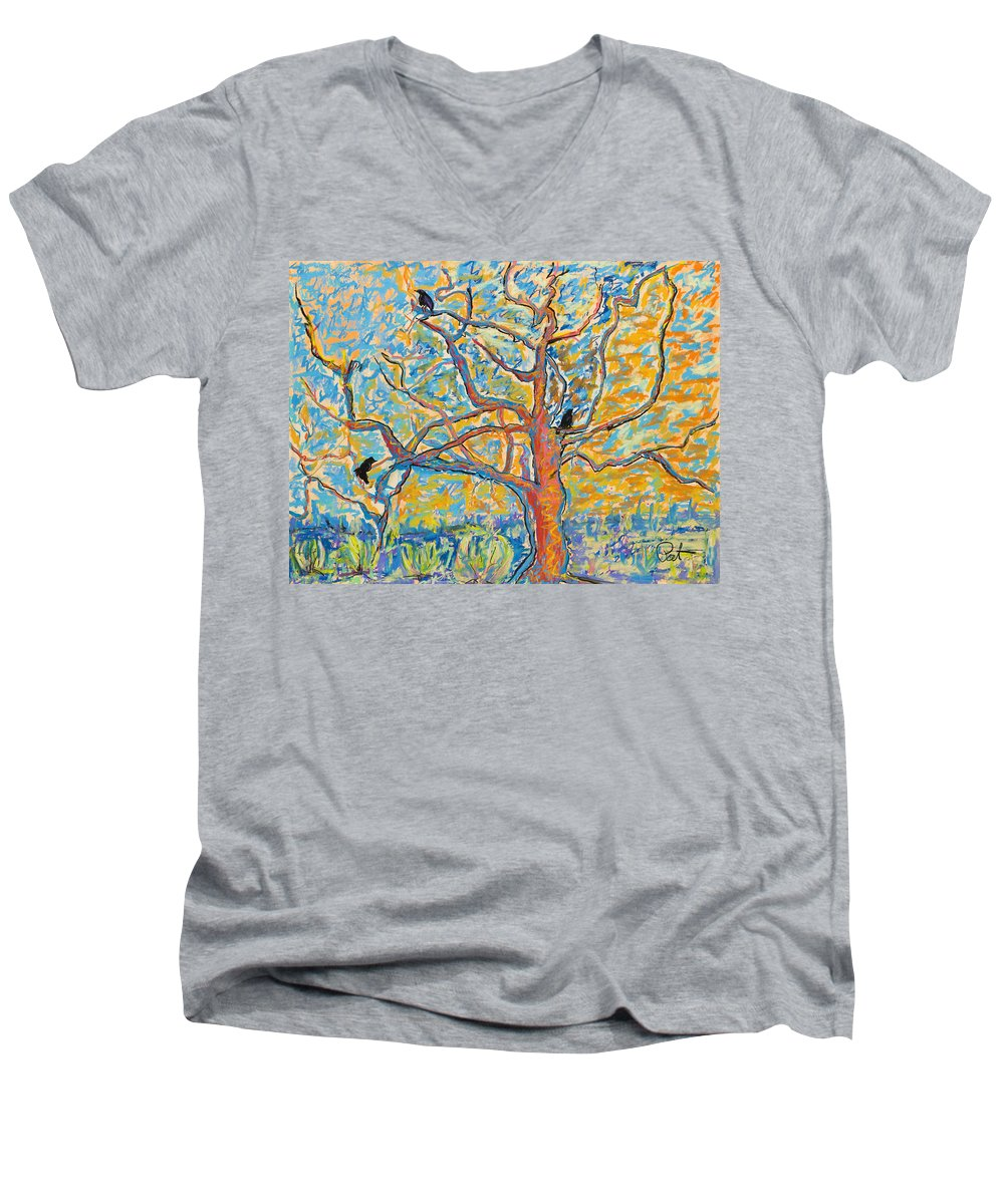 Abstract Painting Men's V-Neck T-Shirt featuring the mixed media The Wind Dancers by Pat Saunders-White