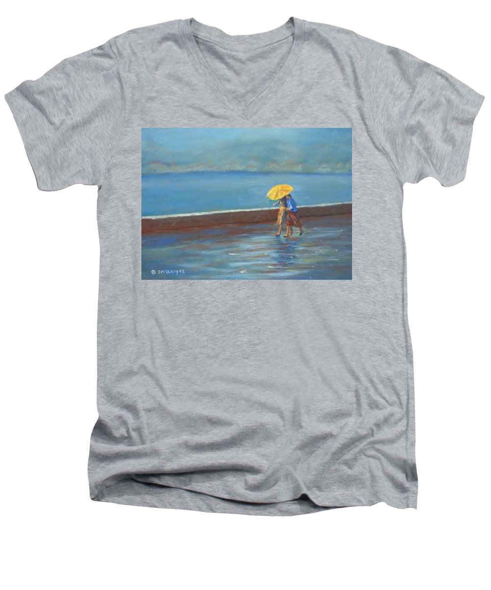 Rain Men's V-Neck T-Shirt featuring the painting The Yellow Umbrella by Jerry McElroy