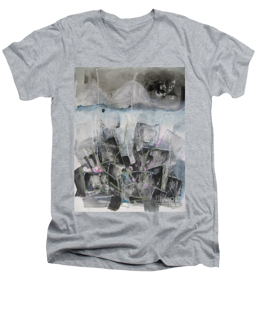 Cemetery Men's V-Neck T-Shirt featuring the painting Three Arms by Seon-Jeong Kim