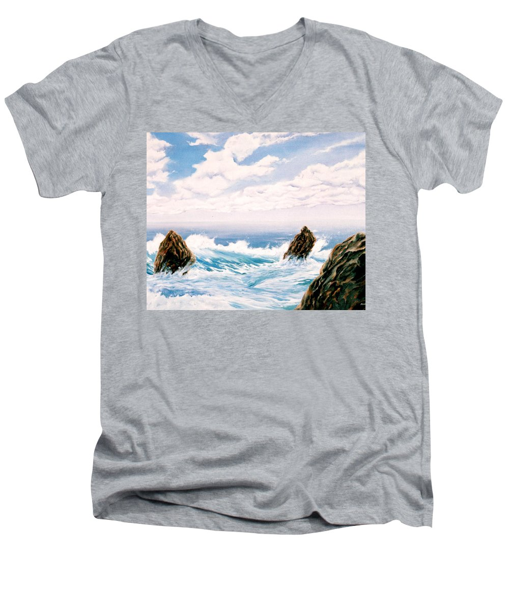 Seascape Men's V-Neck T-Shirt featuring the painting Three Rocks by Mark Cawood