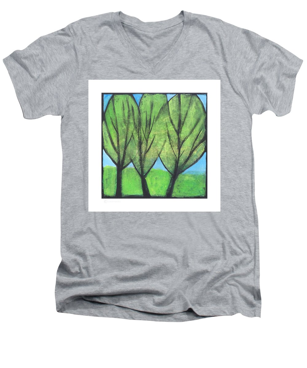 Trees Men's V-Neck T-Shirt featuring the painting Three Sisters by Tim Nyberg