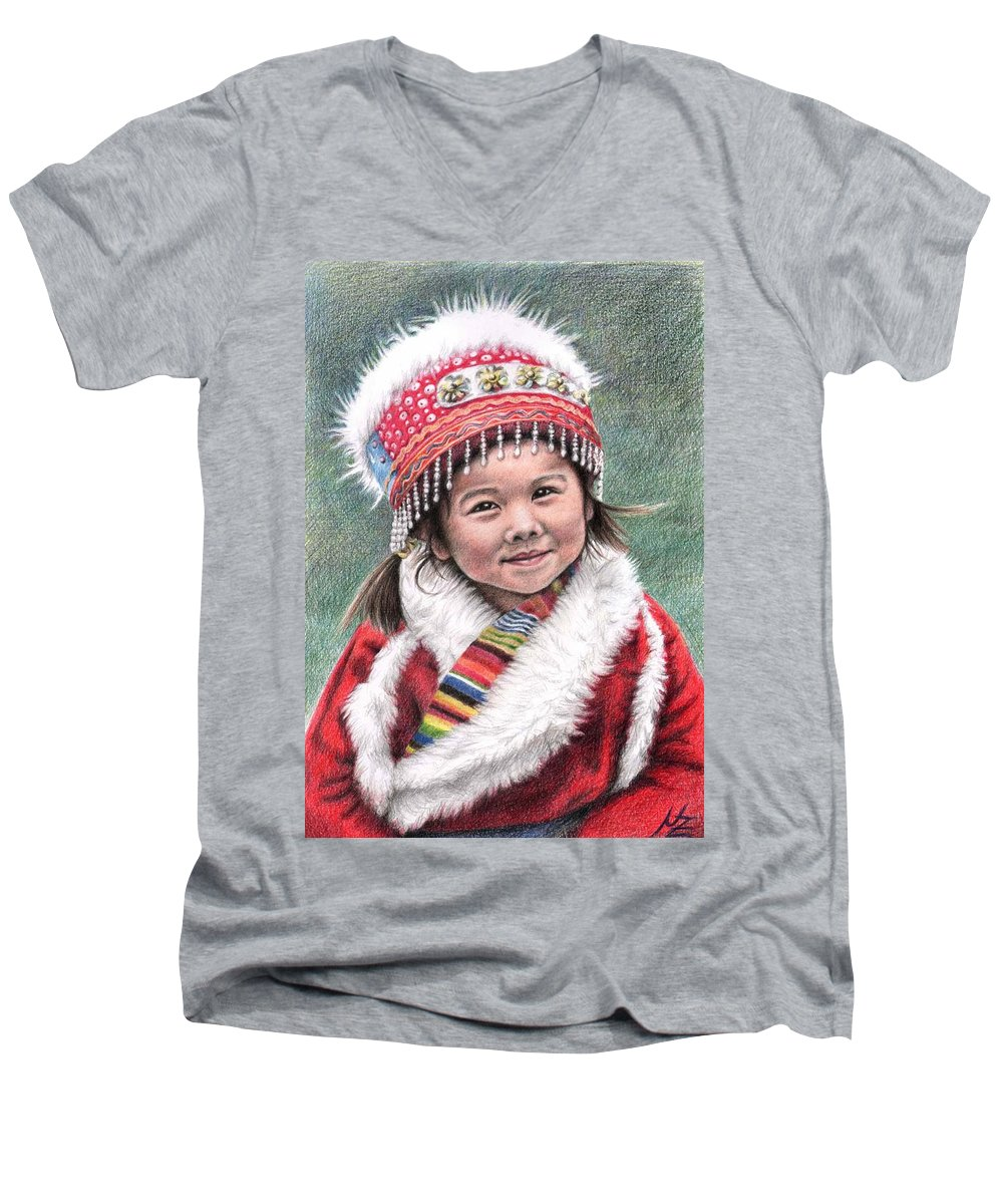 Girl Men's V-Neck T-Shirt featuring the drawing Tibetan Girl by Nicole Zeug