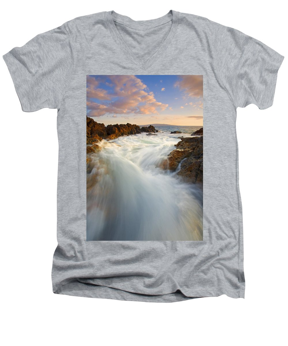 Surge Men's V-Neck T-Shirt featuring the photograph Tidal Surge by Mike Dawson