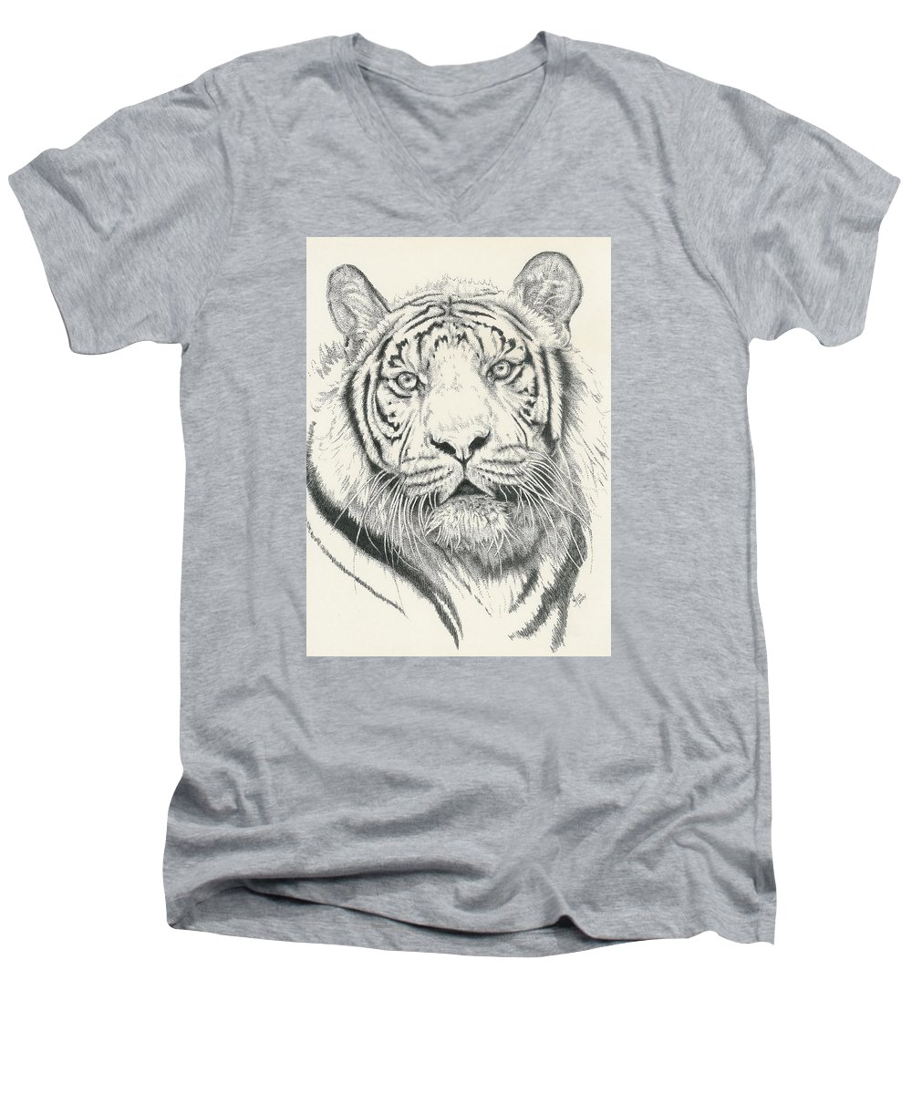Tiger Men's V-Neck T-Shirt featuring the drawing Tigerlily by Barbara Keith